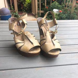 Chloe beige tan sandal wedges